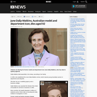 ArchiveBay.com - www.abc.net.au/news/2020-02-23/june-dally-watkins-dies-aged-92-deportment-queen-tributes/11992170 - June Dally-Watkins, Australian model and deportment icon, dies aged 92 - ABC News (Australian Broadcasting Corporation)