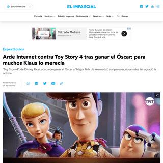 Arde Internet contra Toy Story 4 tras ganar el Óscar; para muchos Klaus lo merecía - ELIMPARCIAL.COM