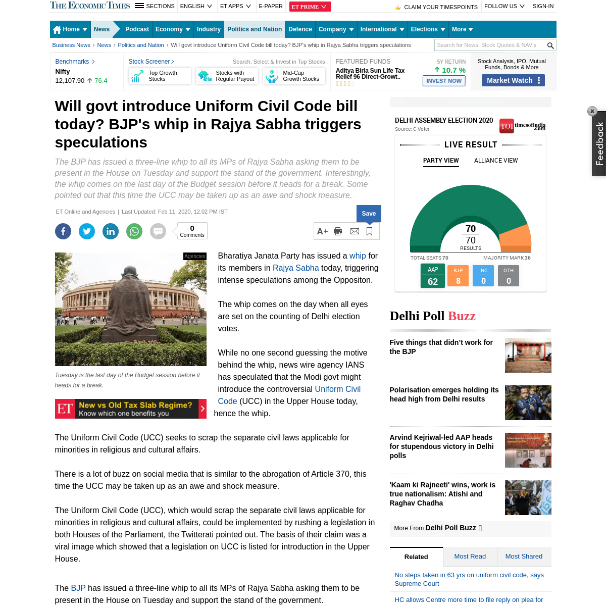 ArchiveBay.com - economictimes.indiatimes.com/news/politics-and-nation/will-bjp-introduce-uniform-civil-code-bill-today-bjps-whip-in-rajya-sabha-triggers-speculations/articleshow/74077230.cms - ucc bill- Will govt introduce Uniform Civil Code bill today- BJP's whip in Rajya Sabha triggers speculations - The Economic Time