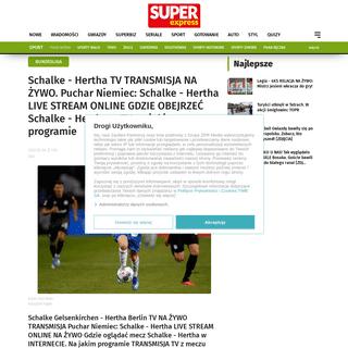 Schalke - Hertha TV TRANSMISJA NA ŻYWO. Puchar Niemiec- Schalke - Hertha LIVE STREAM ONLINE GDZIE OBEJRZEĆ Schalke - Hertha w