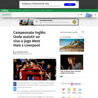 Campeonato Inglês- Onde assistir ao vivo o jogo West Ham x Liverpool - Metro Jornal