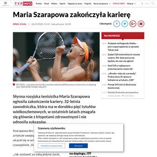 Rosyjska tenisistka Maria Szarapowa zakończyła karierę wieszwiecej - tvp.info