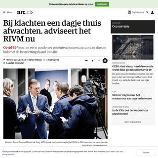 ArchiveBay.com - www.nrc.nl/nieuws/2020/03/01/bij-klachten-een-dagje-thuis-afwachten-adviseert-het-rivm-nu-a3992276 - Bij klachten een dagje thuis afwachten, adviseert het RIVM nu - NRC