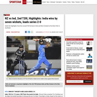 New Zealand vs India, 2nd T20I- India wins by seven wickets - Sportstar