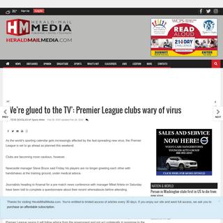 'We're glued to the TV'- Premier League clubs wary of virus - National - heraldmailmedia.com