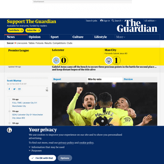 ArchiveBay.com - www.theguardian.com/football/live/2020/feb/22/leicester-v-manchester-city-premier-league-live - Leicester City 0-1 Manchester City- Premier League – as it happened - Football - The Guardian