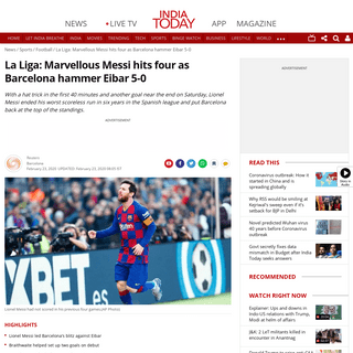 ArchiveBay.com - www.indiatoday.in/sports/football/story/la-liga-lionel-messi-hits-four-as-barcelona-hammer-eibar-5-0-1649148-2020-02-23 - Messi nets 4 goals against Eibar to end scoreless streak - Sports News