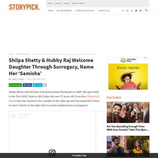 Shilpa Shetty & Raj Kundra Welcome Daughter Through Surrogacy