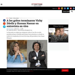 A los gritos terminaron Vicky Dávila y Hassan Nassar en entrevista en vivo - ELESPECTADOR.COM
