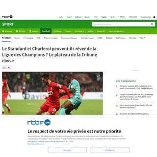 Le Standard et Charleroi peuvent-ils rêver de la Ligue des Champions- Le plateau de la Tribune divisé