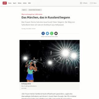 Überraschungsfrau Sofia Kenin - Das Märchen, das in Russland begann - Sport - SRF
