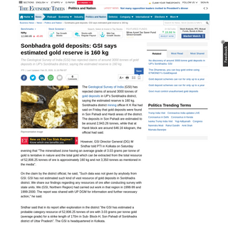 Gold Deposit in Sonbhadra- Sonbhadra gold deposits- GSI says estimated gold reserve is 160 kg - The Economic Times
