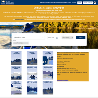 British Columbia Parks - British Columbia Parks Reservation System