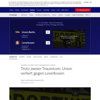 ArchiveBay.com - sport.sky.de/fussball/union-berlin-vs-leverkusen/spielbericht/412923 - Spielbericht - Union Berlin - Leverkusen - 15.02.2020