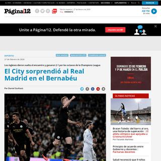El City sorprendió al Real Madrid en el Bernabéu - ... - Página12