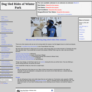 Dog Sled Rides of Winter Park, Colorado.