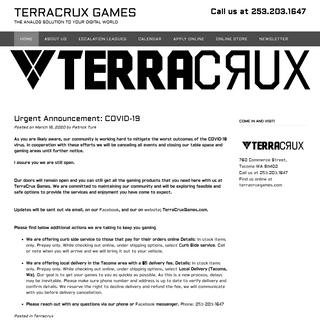TERRACRUX GAMES – THE ANALOG SOLUTION TO YOUR DIGITAL WORLD