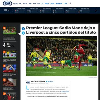 ArchiveBay.com - www.foxdeportes.com/premier-league/story/premier-league-mane-deja-a-liverpool-a-cinco-partidos-del-titulo/ - Premier League- Sadio Mane deja a Liverpool a cinco partidos del título