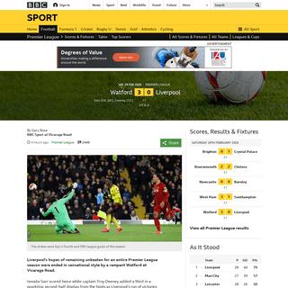 Watford 3-0 Liverpool- Jurgen Klopp's side lose first Premier League game of the season - BBC Sport