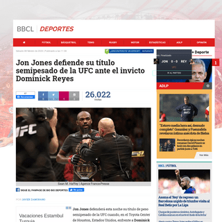 Jon Jones defiende su título semipesado de la UFC ante el invicto Dominick Reyes - Deportes - BioBioChile