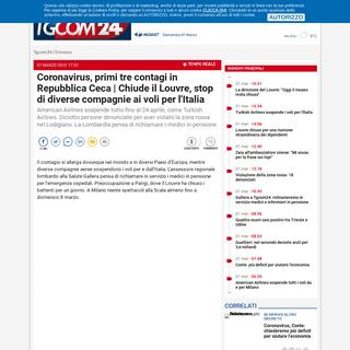 Coronavirus, primi tre contagi in Repubblica Ceca - Chiude il Louvre, stop di diverse compagnie ai voli per l'Italia - Tgcom24