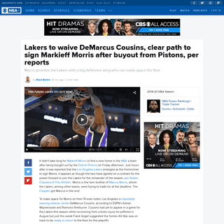 ArchiveBay.com - www.cbssports.com/nba/news/lakers-to-waive-demarcus-cousins-clear-path-to-sign-markieff-morris-after-buyout-from-pistons-per-reports/ - Lakers to waive DeMarcus Cousins, clear path to sign Markieff Morris after buyout from Pistons, per reports - CBSSports.com