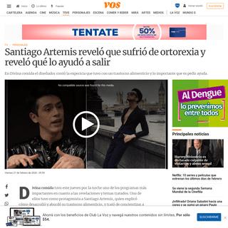 ArchiveBay.com - vos.lavoz.com.ar/tv/santiago-artemis-revelo-que-sufrio-de-ortorexia-y-revelo-que-lo-ayudo-a-salir - Santiago Artemis reveló que sufrió de ortorexia y reveló qué lo ayudó a salir - VOS