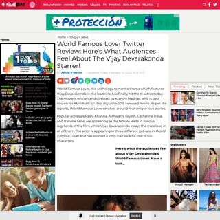 World Famous Lover Twitter Review - World Famous Lover Audience Review - World Famous Lover Review - Filmibeat