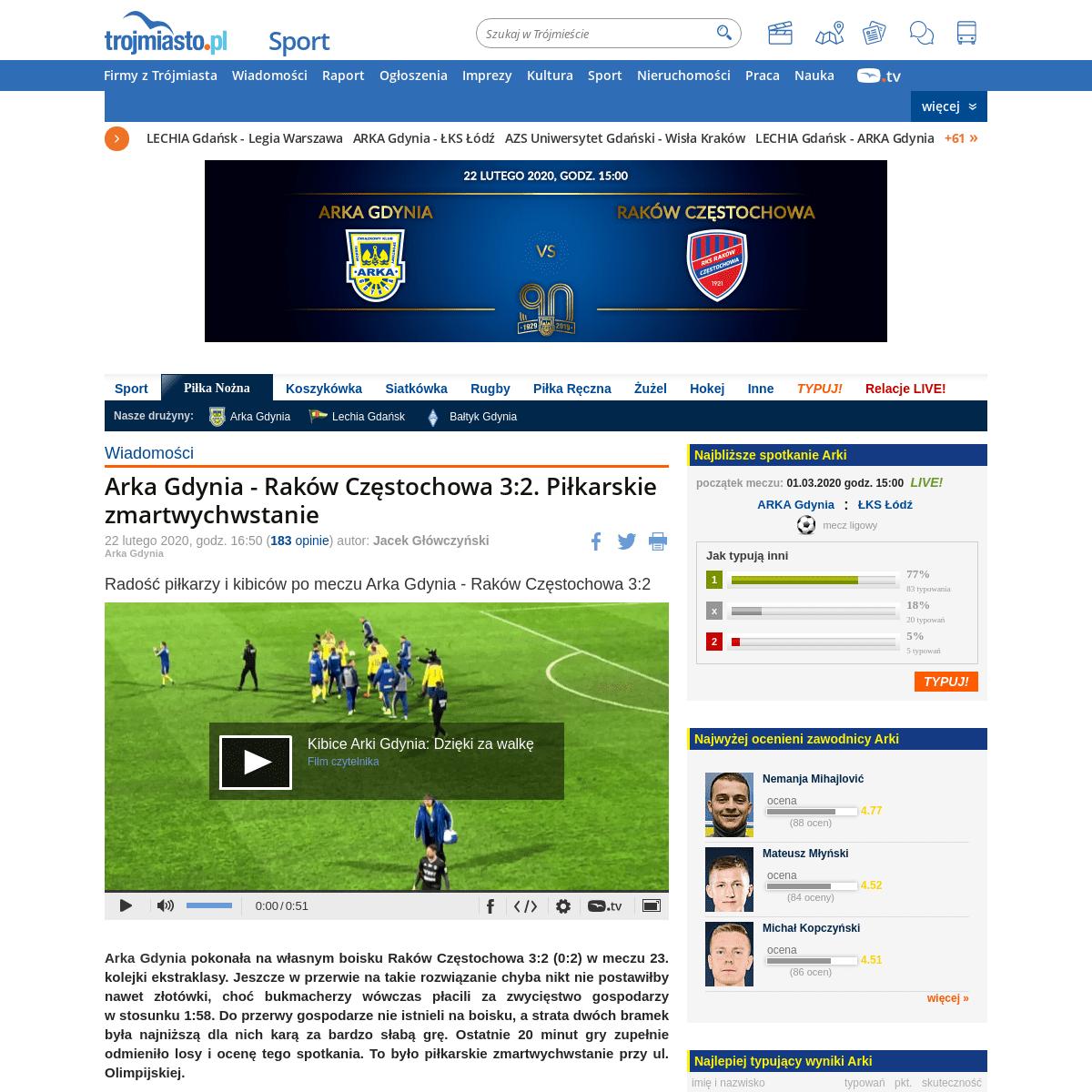 Arka Gdynia - Raków Częstochowa 3-2. Piłkarskie zmartwychwstanie