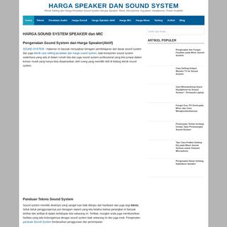 Harga Speaker dan Sound System