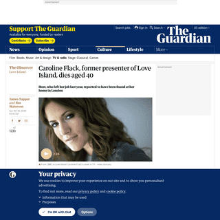 Caroline Flack, former presenter of Love Island, dies aged 40 - Television & radio - The Guardian