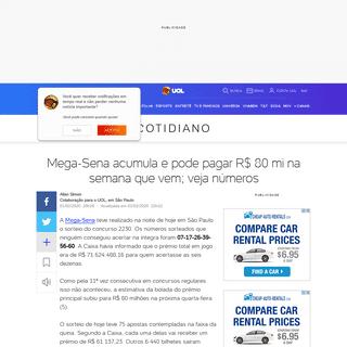 ArchiveBay.com - noticias.uol.com.br/cotidiano/ultimas-noticias/2020/02/01/mega-sena-2230-resultado-do-sorteio.htm - Mega-Sena 2230- veja os números sorteados, resultados e prêmios