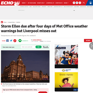 Storm Ellen due after four days of Met Office weather warnings but Liverpool misses out - Liverpool Echo