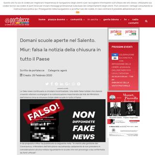 Domani scuole aperte nel Salento. Miur- falsa la notizia della chiusura in tutto il Paese