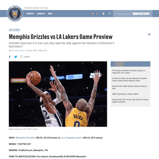 Memphis Grizzles vs LA Lakers Game Preview - Grizzly Bear Blues