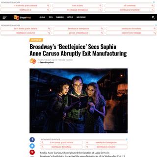 Broadway's 'Beetlejuice' Sees Sophia Anne Caruso Abruptly ExitManufacturing - Binge Post