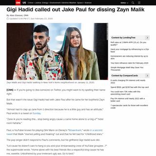 Gigi Hadid called out Jake Paul for dissing Zayn Malik - CNN