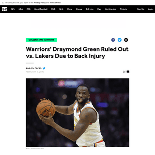 Warriors' Draymond Green Ruled Out vs. Lakers Due to Back Injury - Bleacher Report - Latest News, Videos and Highlights