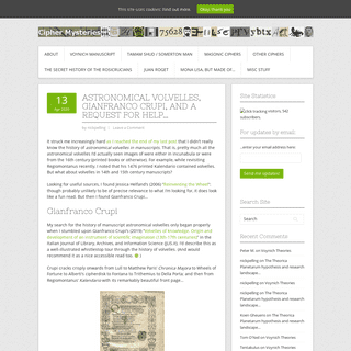 Cipher Mysteries - The latest news, views, research and reviews on uncracked historical ciphers...