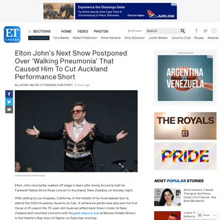 Elton John's Next Show Postponed Over 'Walking Pneumonia' That Caused Him To Cut Auckland PerformanceShort - ETCanada.co