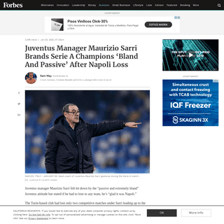Juventus Manager Maurizio Sarri Brands Serie A Champions 'Bland And Passive' After Napoli Loss