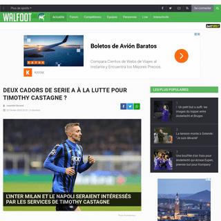L'Inter Milan et le Napoli seraient intéressés par les services de Timothy Castagne - Tout le foot - Walfoot.be