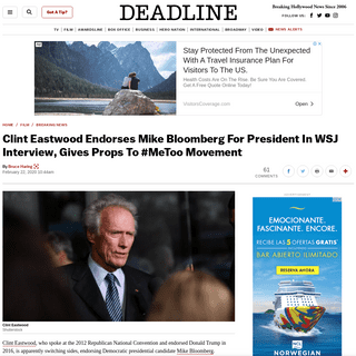ArchiveBay.com - deadline.com/2020/02/clint-eastwood-endorses-mike-bloomberg-for-president-wsj-1202866163/ - Clint Eastwood Endorses Mike BloombergAnd #MeToo Movement – Deadline