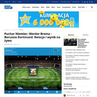Puchar Niemiec- Werder Brema - Borussia Dortmund. Relacja i wynik na żywo - Polsat Sport