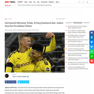 Dortmund Menang Telak, Erling Haaland dan Jadon Sancho Pecahkan Rekor