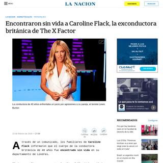 Encontraron sin vida a Caroline Flack, la exconductora británica de The X Factor - LA NACION