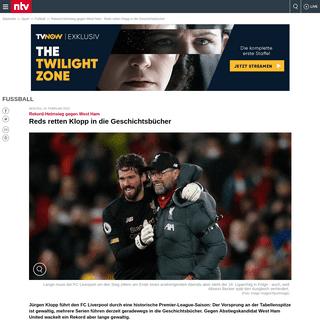 Rekord-Heimsieg gegen West Ham- Reds retten Klopp in die Geschichtsbücher - n-tv.de
