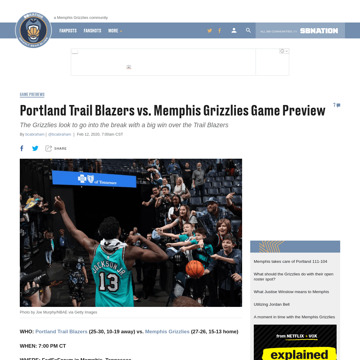 ArchiveBay.com - www.grizzlybearblues.com/2020/2/12/21131573/portland-trail-blazers-vs-memphis-grizzlies-game-preview-nba-information-tv-start-time - Portland Trail Blazers vs. Memphis Grizzlies Game Preview - Grizzly Bear Blues