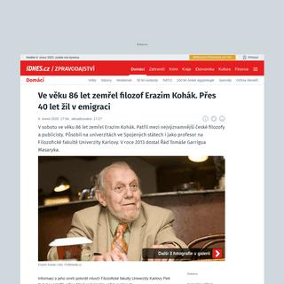 Ve věku 86 let zemřel filozof Erazim Kohák. Přes 40 let žil v emigraci - iDNES.cz