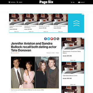 Jennifer Aniston, Sandra Bullock recall both dating Tate Donovan